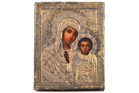 icon, Kazan icon of the Mother of God, board, silver, painting, guilding, 84 standart, Russia, 1895, 17.8 x 14.4 x 2.5 cm
