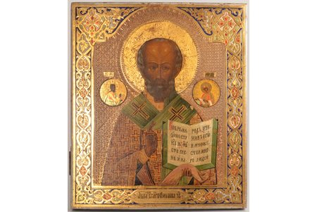 icon, Saint Nicholas the Miracle-Worker, board, painting, guilding, Russia, 31.1 x 26.8 x 2.2 cm