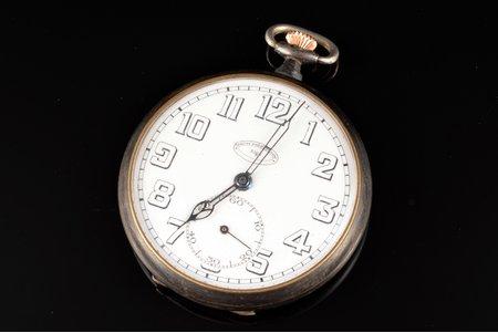 """kabatas pulkstenis, """"Šveices pulksteņu nams"""", Rīga, metāls, 5.6 x 4.7 cm, Ø 47 mm, mehānisms darbojas"""