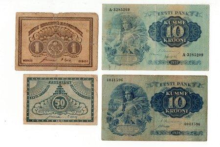 комплект, 4 банкноты: 10 крон (1928), 10 крон (1937), 1 марка (1919), 50 пенни (1919), 1919-1937 г., Эстония