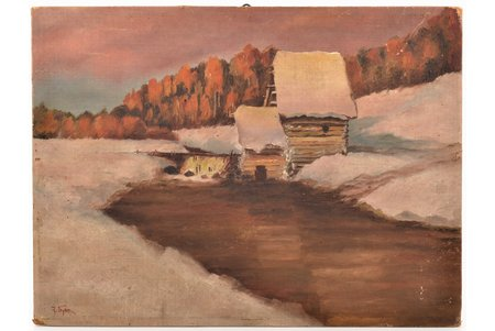 "unknown author, ""Winter landscape"", 1915, canvas duplicated on carton, oil, 24 x 32 cm"
