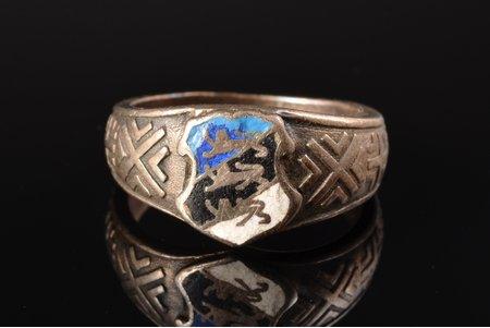 a ring, National symbols of Estonia, silver, enamel, 875 standart, 5.02 g., the size of the ring 16.25, Estonia
