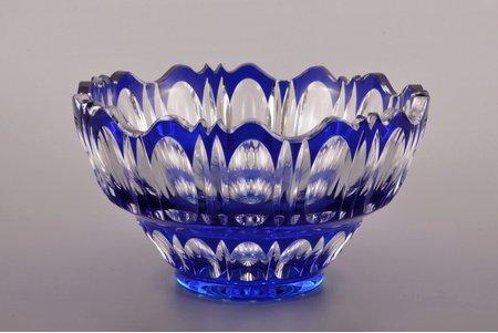 fruit dish, Iļģuciems glass factory, Latvia, the 20-30ties of 20th cent., Ø 23.5 / h 13.3 cm, small chips
