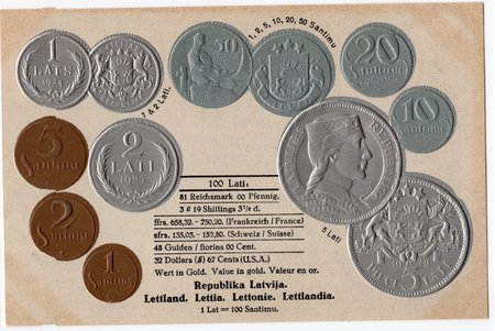 postcard, coins of Republic of Latvia, Latvia, 20-30ties of 20th cent., 14,8x9,5 cm