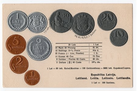 postcard, coins of Republic of Latvia, Latvia, 20-30ties of 20th cent., 14,4x9,2 cm