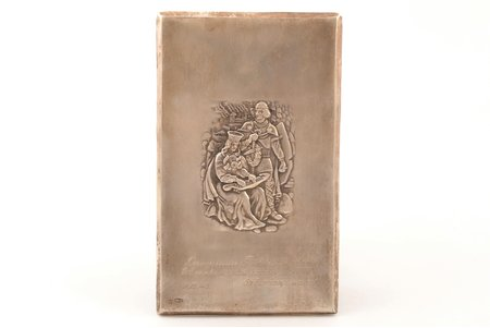 cover plate, silver, 875 standart, with dedicatory inscription, the 30ties of 20th cent., 76.50 g, by Jānis Rīduss, Latvia, 17.7 x 10.7 cm