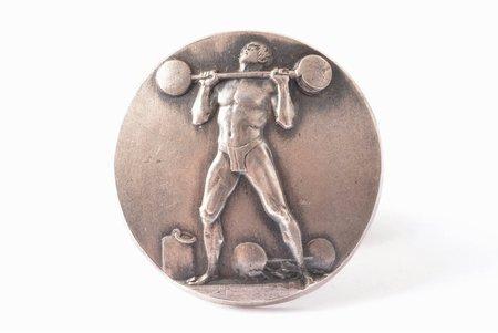 награда, Соревнования по тяжёлой атлетике, серебро, Латвия, 20е-30е годы 20го века, 27.2 x 26.8 мм, мастерская К.Wihtolin