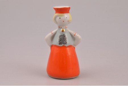 figurine, Girl in traditional costume, porcelain, Riga (Latvia), USSR, Riga porcelain factory, molder - Zina Ulste, 1947-1970, h 6 cm, first grade