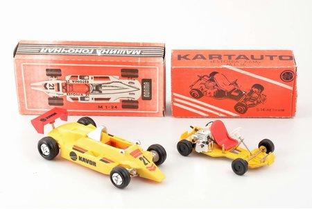 "pair of car models, go-kart ""Estonia - K6M"", racing car ""Estonia 21"", USSR, Estonia, the 80ies of 20th cent., in original boxes"
