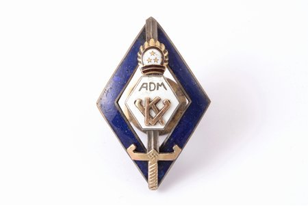 badge, Administrative service officer courses, Latvia, the 30ies of 20th cent., 45.4 x 29.8 mm, wear marks on enamel