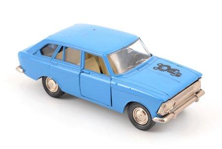 "car model, Moskvitch IZH-1500-Hatchback Nr. A12, ""1980 Olympic games bear"", metal, USSR, ~ 1980"