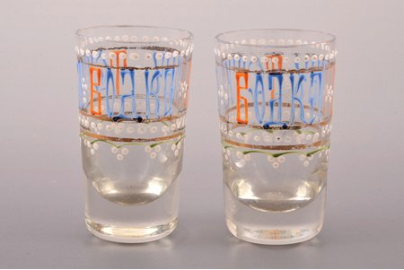 "pair of beakers, ""Водка - вину тетка"", Russia, h 6.5 cm"