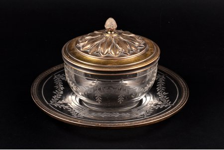 set, silver, 950 standart, gilding, glass, weight of silver lid 84.55g, France, plate-tray Ø 17.4 cm