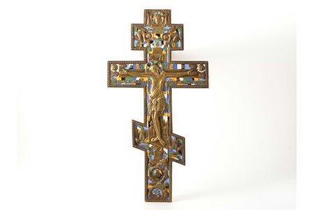 крест, Распятие Христово, медный сплав, 6-цветная эмаль, Российская империя, 1257.4 г., 36.5 x 19.2 x 0.9 см, Москва