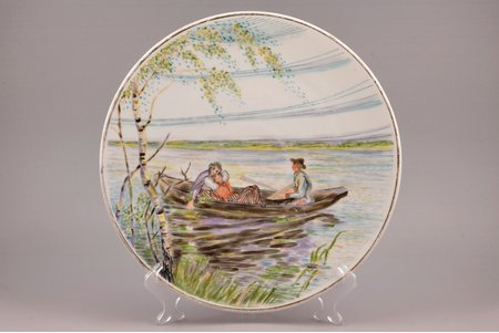 """wall plate, """"Traditional motif"""", porcelain, hand-painted, handpainted by Helena Krisone(?), Riga (Latvia), USSR, the 50ies(?) of 20th cent., Ø 31.2 cm"""