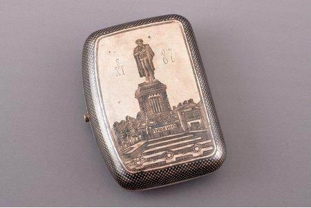 "snuff-box, silver, 84 standart, ""Monument to Pushkin"", niello enamel, 1880, 87.80 g, Egorov Alexander Sergeev's workshop, Moscow, Russia, 8.4 x 6.2 x 2.6 cm"