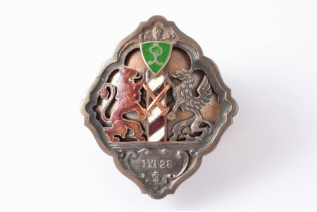 badge, Frontier troops, Latvia, 20-30ies of 20th cent., 49.5 x 42.5 mm, defect of the red enamel