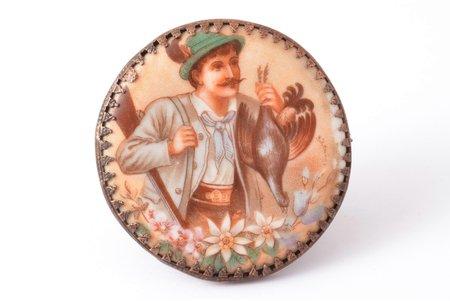 award, Riga Shooting Society (Rigaer Schützenverein), metal, porcelain, Latvia, Russia, 1916, 54 x 53 mm