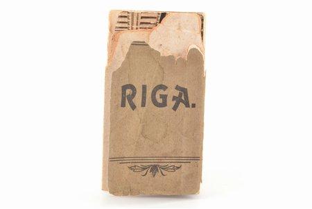"""miniatūrs saliekams buklets """"Rīga"""", 12 lapas, Latvija, Krievijas impērija, 20. gs. sākums, 8.6 x 4.8 cm, vāks un pirmās divas lapas ir bojātas"""