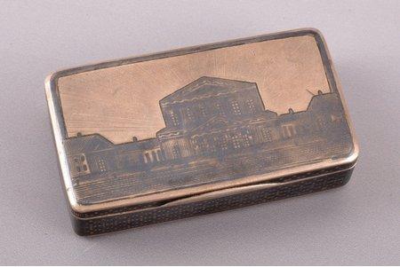 snuff-box, silver, 84 standart, niello enamel, gilding, 1877, 73.20 g, Moscow, Russia, 7.1 x 4 x 1.8 cm