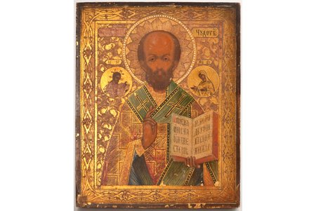 icon, Saint Nicholas the Miracle-Worker, board, painting on gold, Russia, 17.5 x 14 x 1.8 cm
