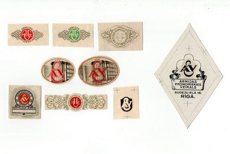 Armijas Ekonomiskā veikala etiķešu kolekcija, 150 gab., no tiem 71 oriģināls zīmējums, 10 proves, Latvija, 20. gs. 20-30tie g., papildus foto pēc pieprasījuma