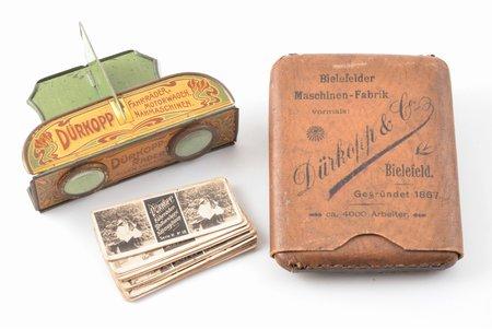 """стереоскоп, реклама компании """"Dürkopp & Co"""", в комплекте набор из 14 стереофотографий и картонный футляр, печать """"W. Ruth, Riga"""" на обратной стороне фотографий, металл, картон, рубеж 19-го и 20-го веков, размер фотографий 3 x 7 см, футляр 11.7 x 9.3 см"""