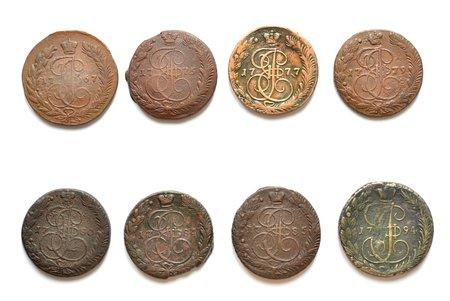 5 kopecks, set of 8 coins, 1767-1794, EM, 1767, 1775, 1777, 1779, 1780, 1784, 1785, 1794, copper, Russia