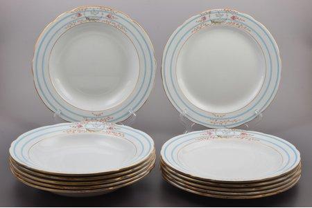 set of plates, 6 soup plates + 6 dinner plates, porcelain, M.S. Kuznetsov manufactory, Russia, 1889-1917, Ø 25.7 cm, Tver factory