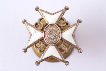 миниатюрный знак, Крест Признания, серебро, эмаль, 875 проба, Латвия, 1938-1940 г., 16.7 x 16.7 мм, дефект эмали
