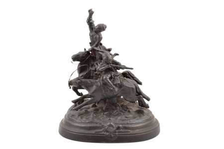 """sculpture, """"Lezgins on Horseback"""", cast iron, 27 x 22 x 13 cm, weight 3950 g., USSR, Kusa, 1973, missing weapon in the rider's hand"""