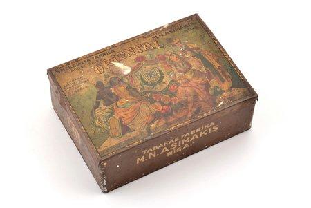 "коробочка, курительный табак ""Oriental"", табачная фабрика ""М.Н. Асимакис"" в Риге, металл, Латвия, 20-30е годы 20го века, 10.3 x 14.3 x 5 см"