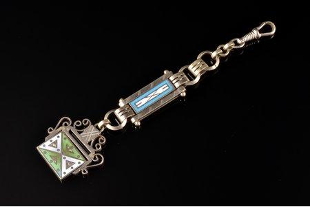 watch fob, metal, enamel, the item's dimensions 13 cm