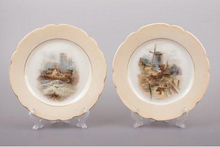 """šķīvju pāris, tirdzniecības nams """"Alexander Nicolaiewitsch Dugin"""", Orla, porcelāns, Krievijas impērija, Ø 17.9 cm"""