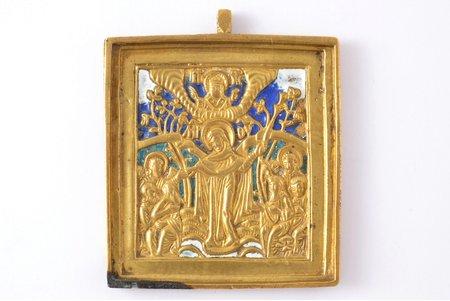 икона, Всех Скорбящих Радость, медный сплав, 3-цветная эмаль, Российская империя, конец 19-го века, 6.4 x 5.4 x 0.4 см, 65.85 г.