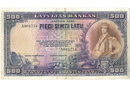 500 lats, 1929, Latvia