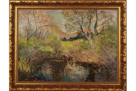 Vinters Edgars (1919-2014), Meža upīte, 1963 g., kartons, eļļa, 44.5 x 60 cm
