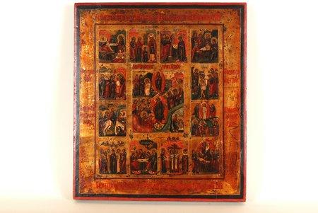 """""""Svētki"""", dēlis, gleznojums, Krievijas impērija, 19. gs., 35.5 x 31 cm"""