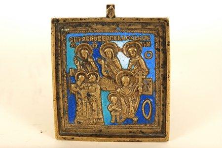 bronza, 3-krāsu emalja, Krievijas impērija, 19. gs., 6 x 5 cm