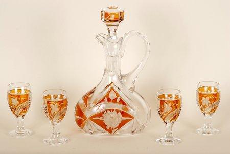 karafe, glāzīte, komplektā 5 priekšmeti, Iļģuciema stikla fabrika, 20 gs. 20-30tie gadi
