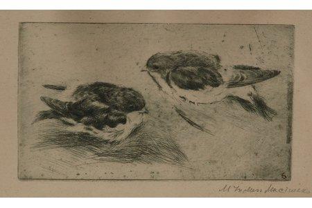 Induss-Muceniece Marija (1904-1974), Svilpi, 1930е g., papīrs, oforts, 9.5 x 16.5 cm
