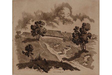 Bange Francis (1895-1974), Ciema taka, 1937 g., papīrs, oforts, 11.5 x 14 cm