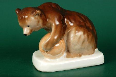 statuete, Cirka lācis, porcelāns, Rīga (Latvija), PSRS, Rīgas porcelāna rūpnīca, 20 gs. 60tie gadi, 9 cm