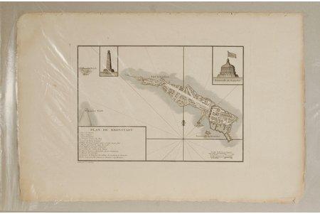 karte, Kronštadta plāns, 18.gs., 21.5 x 30 cm