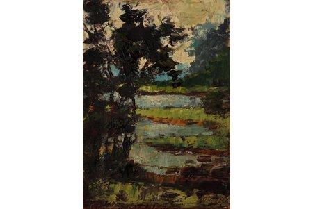Mednis Oto (1925-1976), Ainava, 1960ые g., kartons, eļļa, 65 x 47 cm