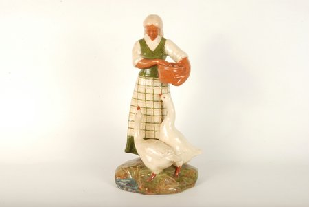 "figurine, Woman with geese, ceramics, Lithuania, USSR, Kaunas industrial complex ""Daile"", the 60ies of 20th cent., 25.5 cm"