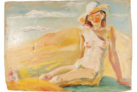 Reinholds Imants (1942), Nude, ~1970-ые, carton, oil, 49 x 70 cm