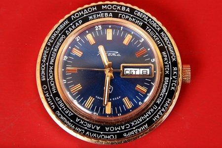 """rokas pulkstenis, """"Raketa"""", 2628.N, """"No satiksmes ministra"""" 1980 g., PSRS, 20. gs. 80tie gadi, metāls, zeltījums"""