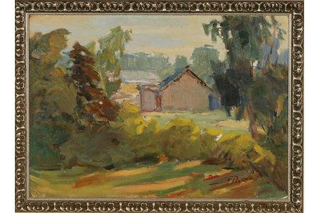 Pankoks Arnolds (1914-2008), Ainava ar mājiņu, kartons, eļļa, 35 x 50 cm