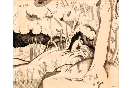 unknown author, Beloved in dunes, 1932, paper, indian ink, 20 x 24 cm